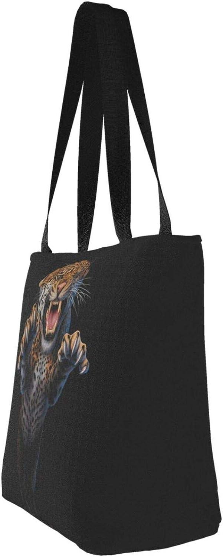 Funny Theme Jump Cool Tiger Themed Printed Women Canvas Handbag Zipper Shoulder Bag Work Booksbag Tote Purse Leisure Hobo Bag For Shopping
