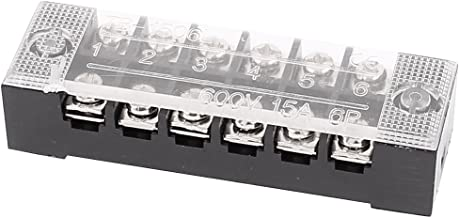 uxcell 600V 15A 6P Dual Row Barrier Terminal Block Cable Connector Bar