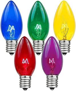 Novelty Lights 25 Pack C9 Twinkle Outdoor Christmas Replacement Bulbs, Multi, E17/C9 Intermediate Base, 7 Watt