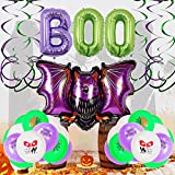 SHLMO Globo de Halloween Set Bat 32 pulgadas BOO Película de aluminio Globo Halloween Fiesta Decoración Fantasma Festival Escena Decoración