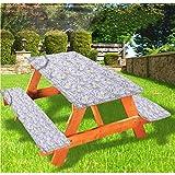 LEWIS FRANKLIN Cortina de ducha Lotus Picnic mesa y banco, mantel ajustable, diseño de pétalos florecientes de borde elástico, 28 x 72 pulgadas, juego de 3 piezas para mesa plegable