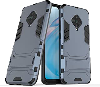 FanTing Case for vivo S1 Pro, Rugged and shockproof,with mobile phone holder, Cover for vivo S1 Pro-Dark Blue