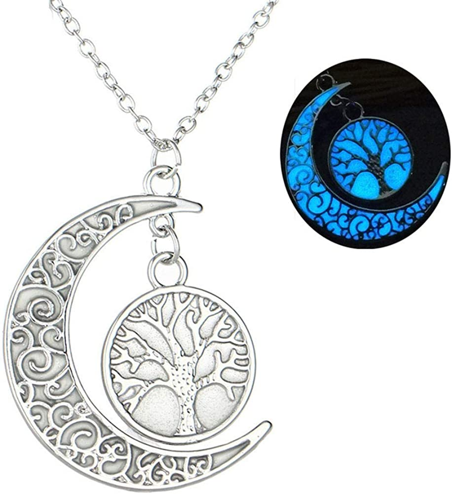 Hollow Luinous Moon Heart Necklace Pendant Double Glow Crescent Heart Shape Necklace for Women Girls