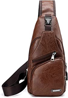 Sechunk Leather Sling Bag Crossbody Small Backpack for Men boys (brown)