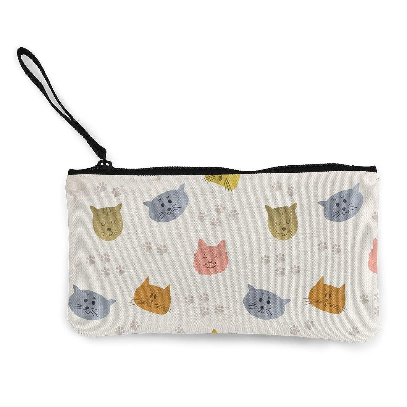 コントラスト安定しました百ErmiCo レディース 小銭入れ キャンバス財布 マンガの猫顔 小遣い財布 財布 鍵 小物 充電器 収納 長財布 ファスナー付き 22×12cm
