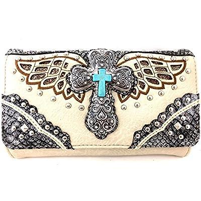 Justin West Cross Angel Wings Concealed Carry Handbag Purse (Beige Wallet)