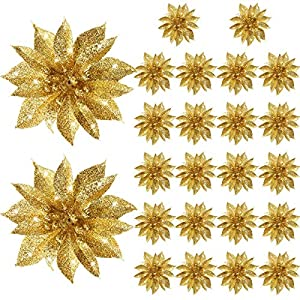 Gejoy Christmas Poinsettia Flowers Artificial Glitter Poinsettia Christmas Tree Ornaments Decorative Floral Accessories for Xmas Home Front Door Decorations