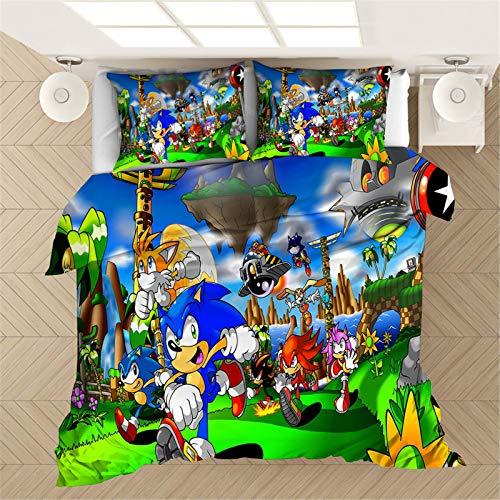 SMNVCKJ Sonic The Hedgehog Juego de ropa de cama 3D para niños, 100 % microfibra, para niños y niñas (6,135 x 200 cm)