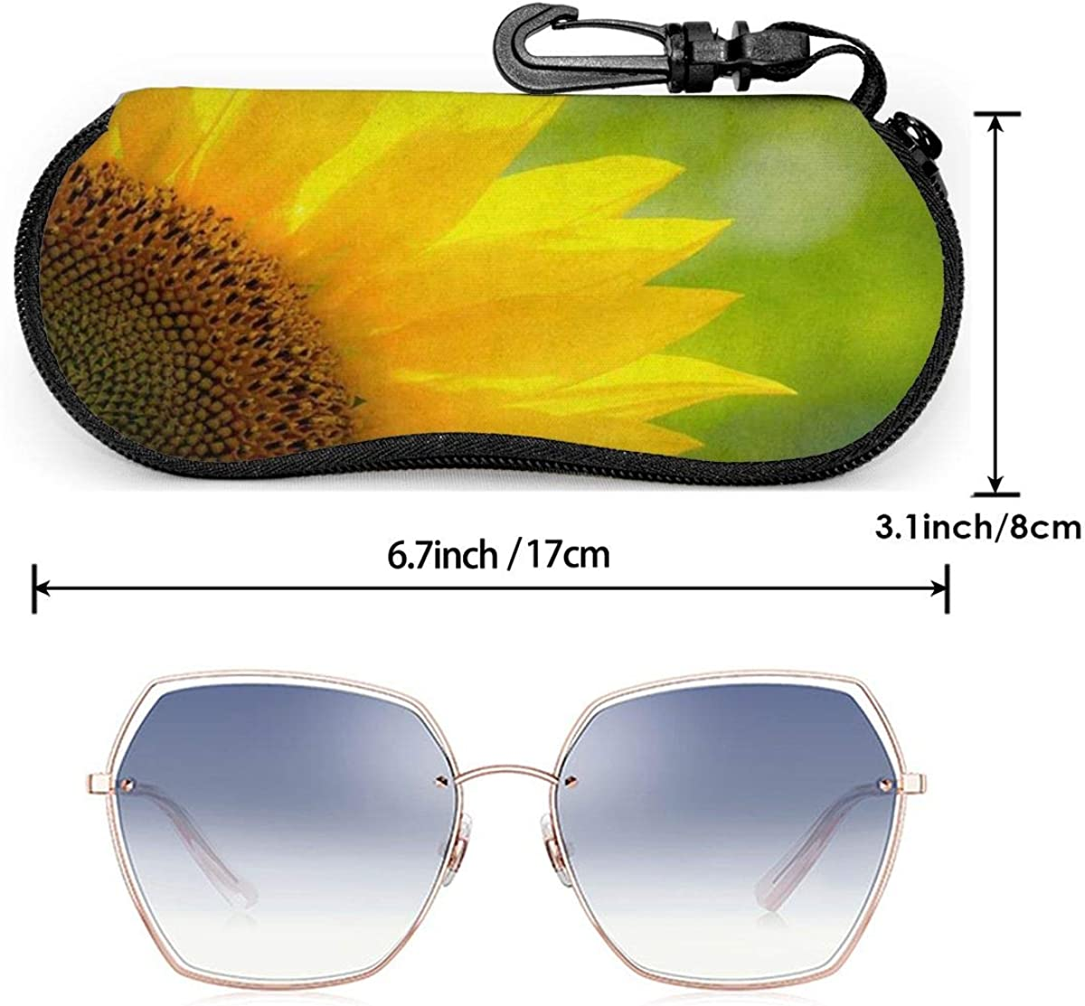 Close-Up Of Beautiful Sunflower In A Field Sunglasses Soft Case Ultra Light Neoprene Zipper Eyeglass Case With Key Chain