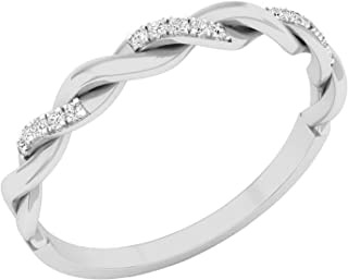 Dazzlingrock Collection 0.05 Carat (ctw) 14K Gold Round Diamond Bridal Anniversary Wedding Band Stackable Swirl Ring