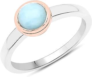 Bonyak Jewelry Genuine Round Larimar Ring in Sterling Silver Size 6.00