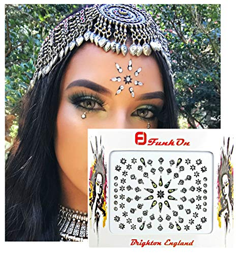 FunkOn® Silver Bollywood Bindi Stickers Indian Face Gems for Festivals Costume Bindis Huge Multipack Diamond Tikka Forehead Makeup Face Tattoos Glitter Accessories Body Crystal Jewels NBSIL