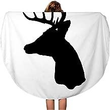 Semtomn 60 Inches Round Beach Towel Blanket Buck Whitetail Deer Head Silhouette Woods Antler Archery Arrow Travel Circle Circular Towels Mat Tapestry Beach Throw