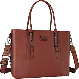 MOSISO Laptop Tote Bag for Women (Up to 15.6 Inch), Water Resistant PU Leather Large Capacity with Padded Compartment Business Work Shoulder Briefcase Handbag Compatible MacBook & Notebook, Brown