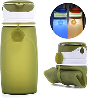 DBCOAST Collapsible Water Bottle Soft Water Bottle 500ML FDA Approved Foldable Silicone Water Bottle White Transparent