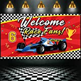 Racing Car Party Banner Decorations Supplies Welcome Race Fans Backdrop for Racing Birthday Party Checker Flag Background Photo Prop