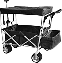 BLACK PUSH AND PULL HANDLE FOLDING STROLLER WAGON OUTDOOR BEACH SPORT COLLAPSIBLE BABY TROLLEY W/ CANOPY GRAY GARDEN UTILITY SHOPPING TRAVEL CART - FREE ICE COOLER BAG - EASY SETUP NO TOOL NECESSARY