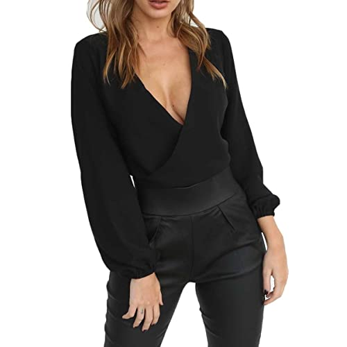 18c7916fd944d6 Almaree Women s Wrap Front Tie Back Deep V Neck Long Sleeve Crop Tops Blouse