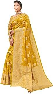 بلوزة ساري من القطن الحريري بأحدث موضة للنساء الهندية بلون أصفر مع Pallu 5764