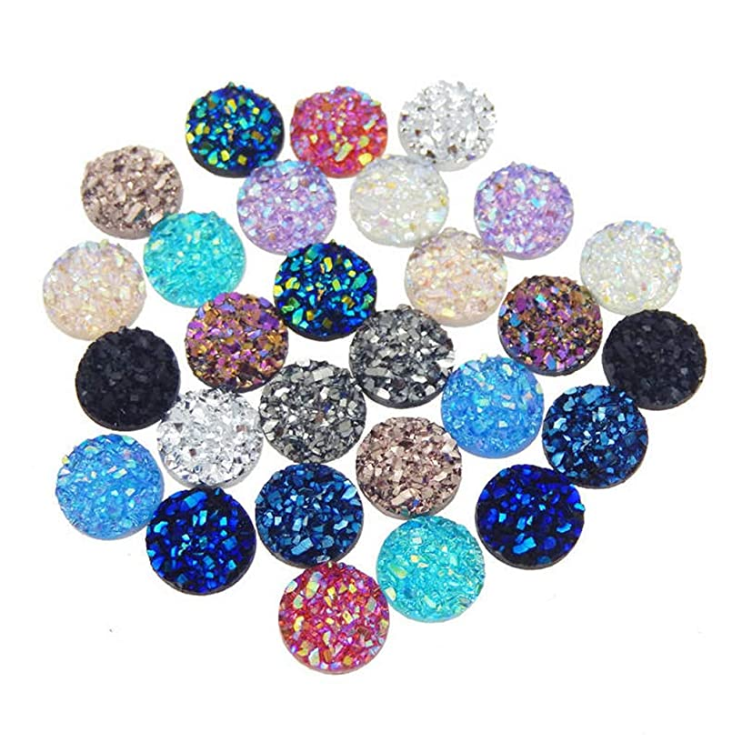 120 Pieces 12 Colors Round Flat Back Resin Cabochon Cameo Faux Druzy Cabochons for Jewelry Making (10mm)