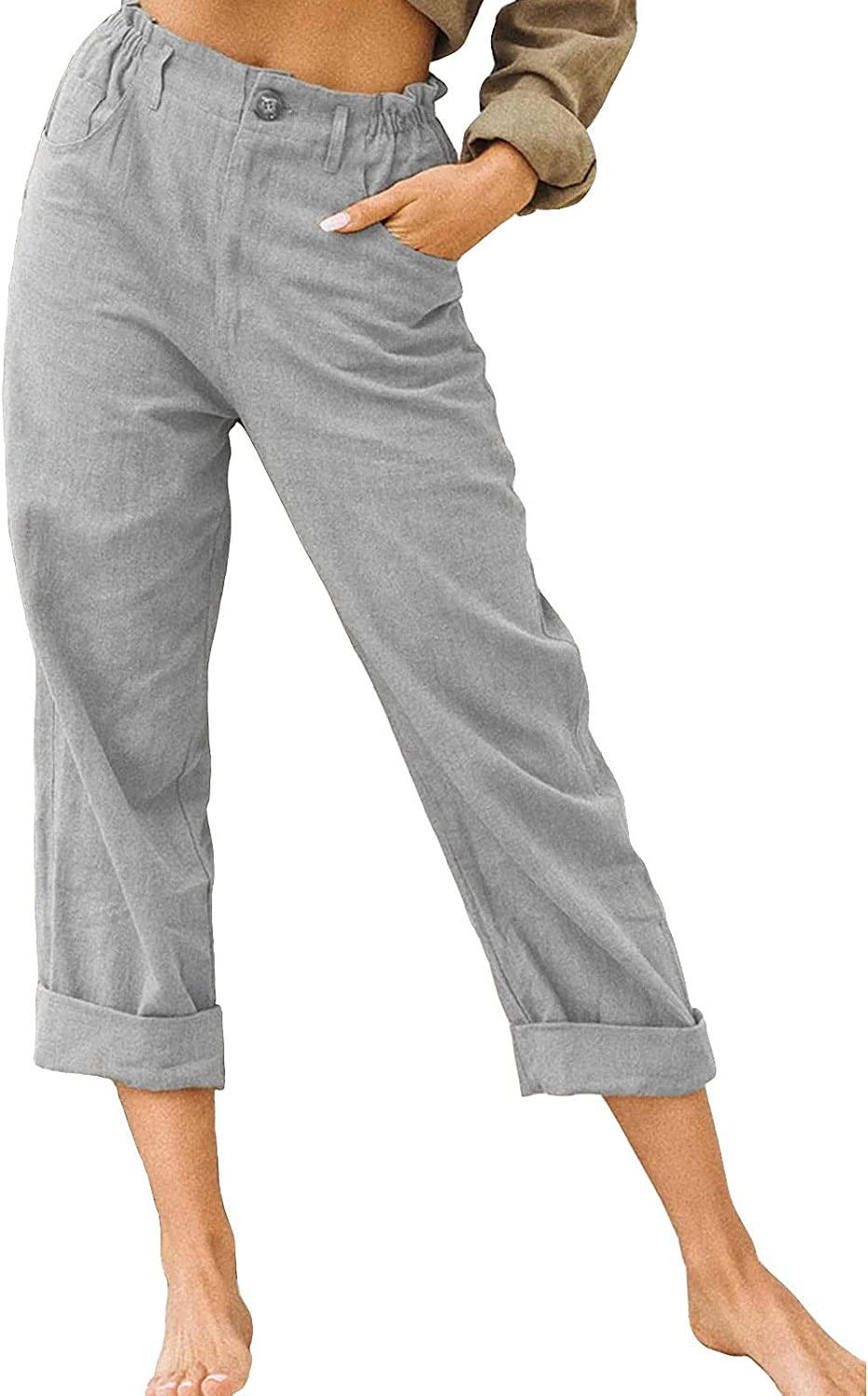 Changeshopping Pants for Women,Summer Cotton and Linen Solid Color Pants,Women Drawstring Elastic Waist Pants with Pockets