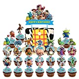 Kopmosar 24 Pcs Toy Story Cupcake Toppers,1 Toy Story Cake Topper for Birthday Party Supplies