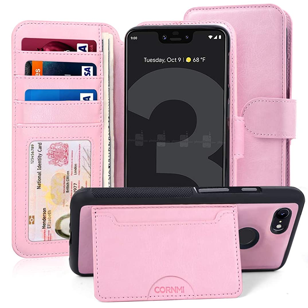 Cornmi Google Pixel 3 Case, Detachable Wallet Pixel 3 Slim Flip Cover Stand Case with 4 Card Slots,1 Cash Slots,1 Coins Pocket, 1 Wristlet, 1 Crossbody Strap Women Purse,Folio Leather Removable TPU