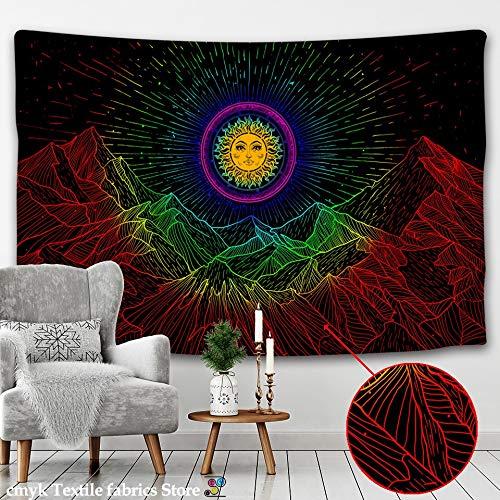 KHKJ Tapiz de Sol y Luna Blanco y Negro Cielo Estrellado Colgante de Pared astrología adivinación Estera brujería Mandala decoración A3 180x200cm