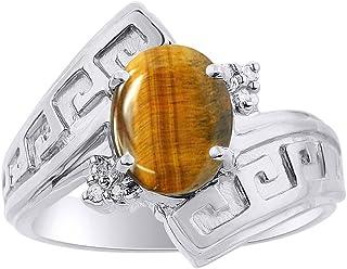 Anillo de diamante y ojo de tigre en oro blanco de 14 quilates, diseño de llave griega, piedra natal de color