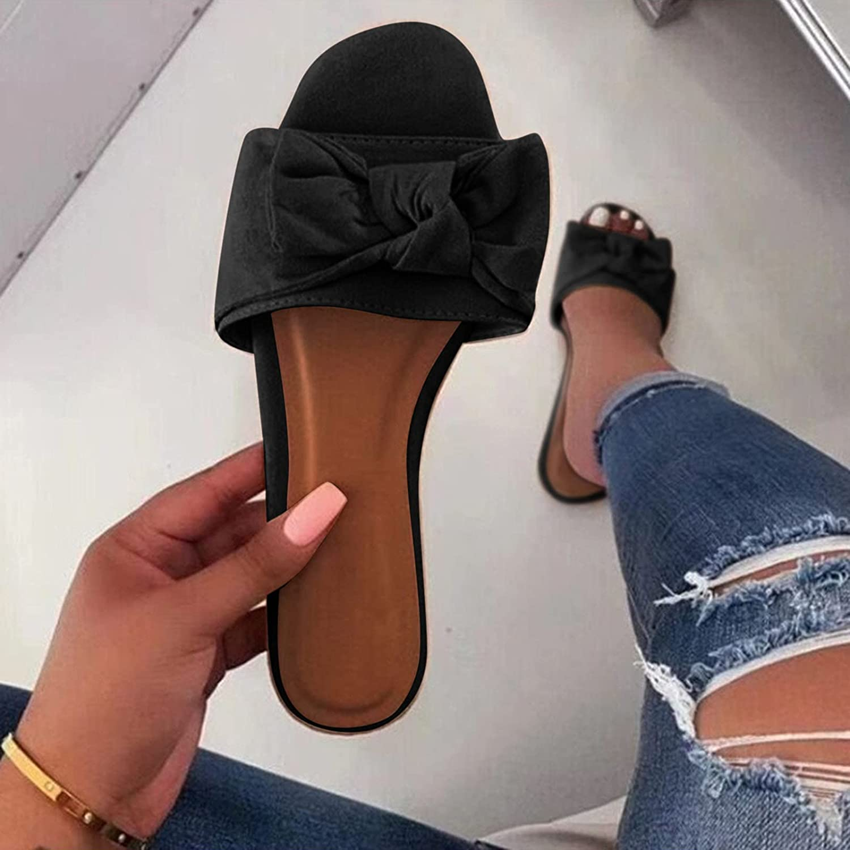 Aniywn Slides for Women Flat Slide Sandals Slip On Open Toe Sandals Casual Bowknot Summer Outdoor Indoor Sandal Slippers