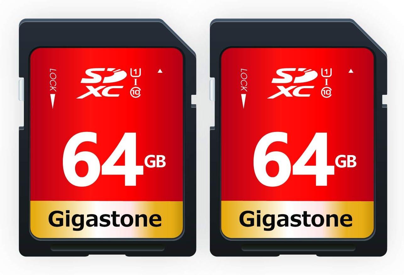 Gigastone 64GB 2 Pack SD Card UHS-I U1 Class 10 SDXC Memory Card High Speed Full HD Video Canon Nikon Sony Pentax Kodak Olympus Panasonic Digital Camera