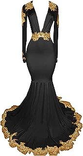 Women's Black Long Sleeves Prom Dress Gold s Mermaid Evening Dress
