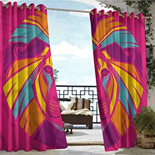 Andrea Sam Indoor/Outdoor Single Panel Print Window Curtain Lion,Tropical Exotic Artwork Design,W84 xL96 Outdoor Patio Curtains Waterproof with Grommets