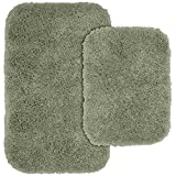 Garland Rug 2-Piece Serendipity Shaggy Washable Nylon Bathroom Rug Set, Deep Fern