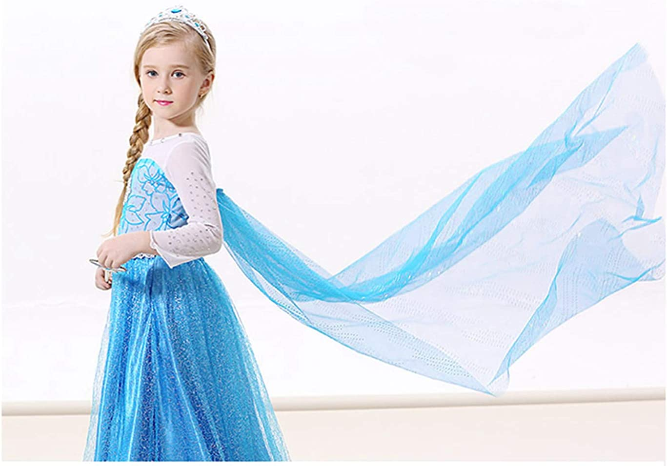 Gherorner Princess Dress for Little Girls Birthday Fancy Dress Snow Party Cosplay Costumes with Accessories