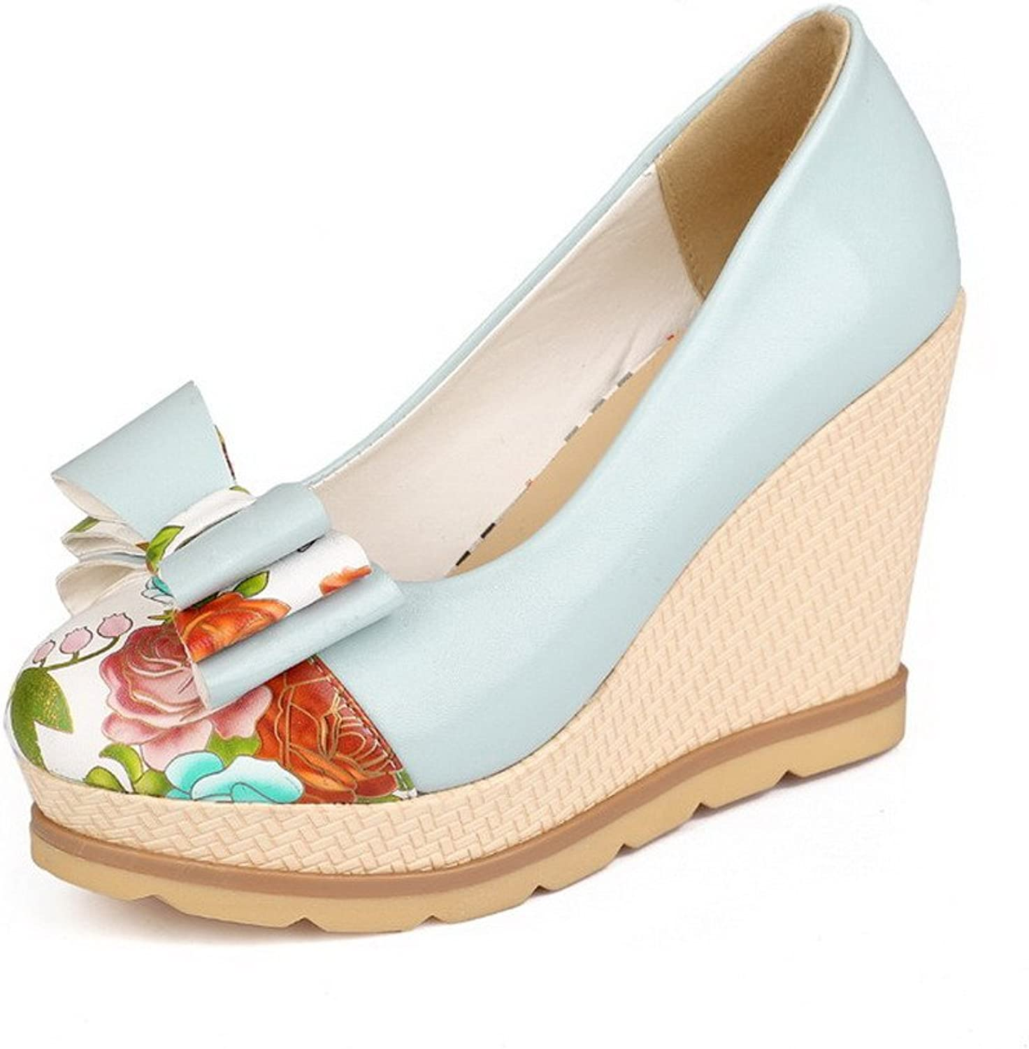 WeenFashion Women's PU Assorted color Pull-on Round Closed Toe High-Heels Pumps-shoes