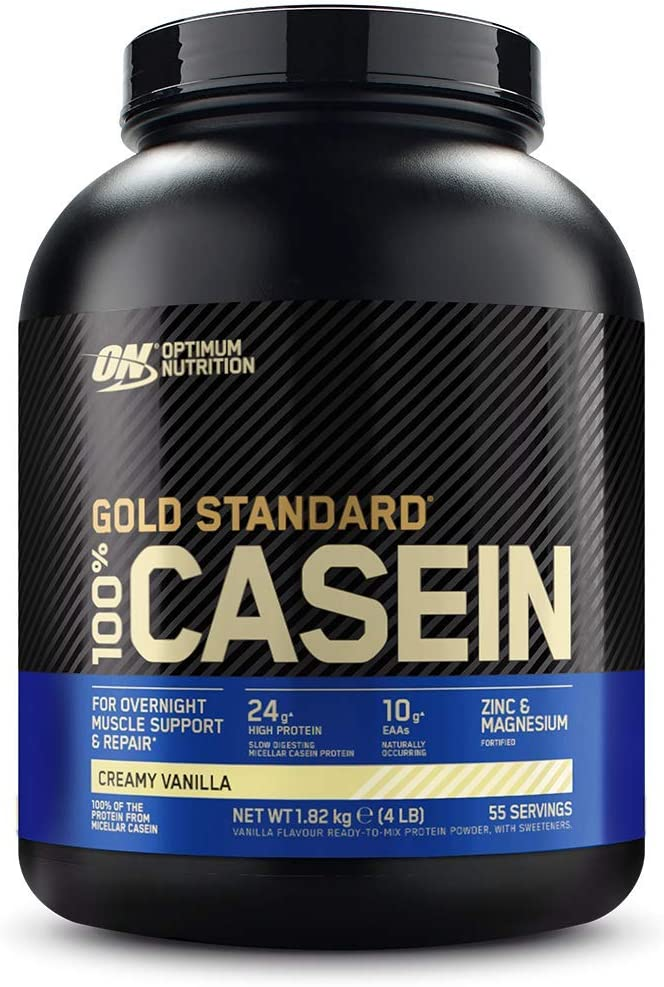 Optimum Nutrition Gold Standard Casein, Proteinas de Caseina en Polvo con BCAA Aminoacidos Esenciales, Zinc y Magnesio en Polvo, Vainilla, 55 Porciones, 1,82 kg