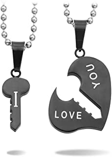 MeMeDIY 2PCS Stainless Steel Pendant Necklace Heart Key Couple,Come with 2 Chains - Customized Engraving