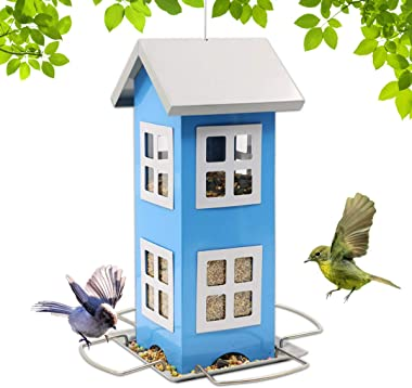 LIMEIDE Bird Feeders House for Outside Weatherproof Country House Design for Easy Cleaning & Refills, Comes with Hook to Hang on Tree, Poles in Backyard Garden, Patio; Gift idea for Parents(Blue)