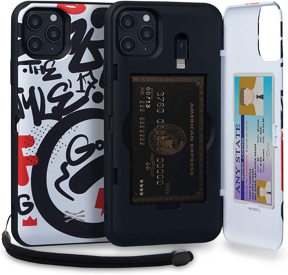 TORU CX PRO Compatible with iPhone 11 Pro Max Wallet Case - Protective Colorful Pattern Dual Layer with Hidden Card Holder, ID Slot Hard Cover, Strap, Mirror & Lightning Adapter - Graffiti