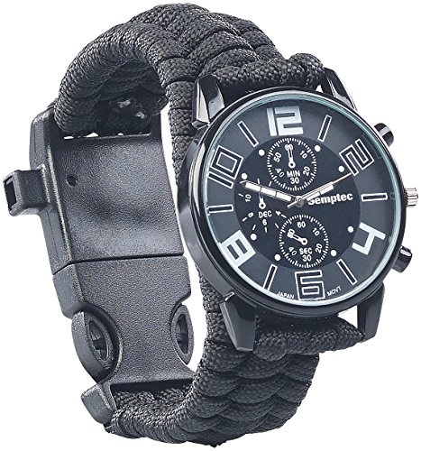 Semptec Urban Survival Technology Survival Uhr mit Kompass: 5in1-Armbanduhr mit Paracordband, Feuerstahl, Kompass, Notfallpfeife (Survival Uhr Herren)