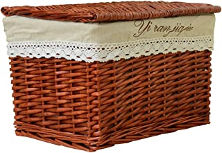 Rattan storage box, household woven handmade storage basket luggage, laundry basket, toy box, with lid, suitable for bedroom closet laundry (Color : Brown, Size : 48X35X30cm)