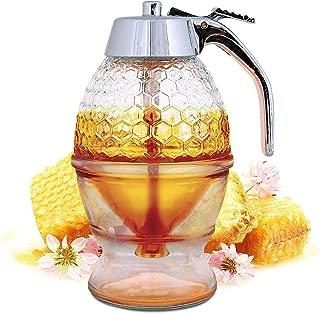 2パックSweet Bee No Drip Honey Dispense with Storage Stand and Stopper、Beautiful Honey Comb Shaped Honey Pot、Use With Sugar、Maple Syrup、Chocolate Syrup
