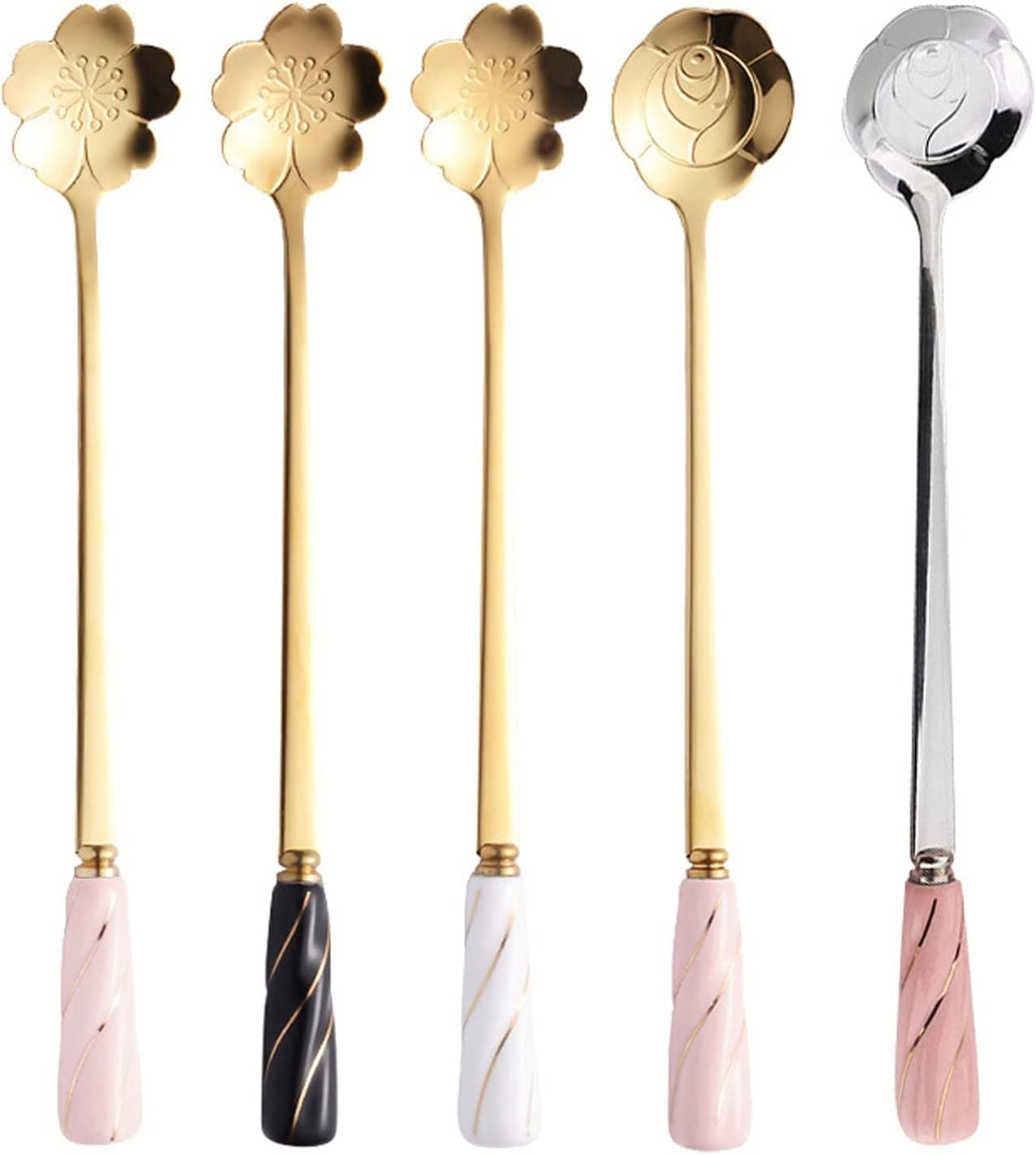 Soup Spoons Stainless Steel Flower-shaped wi Baltimore Mall Dessert Finally popular brand Spoon