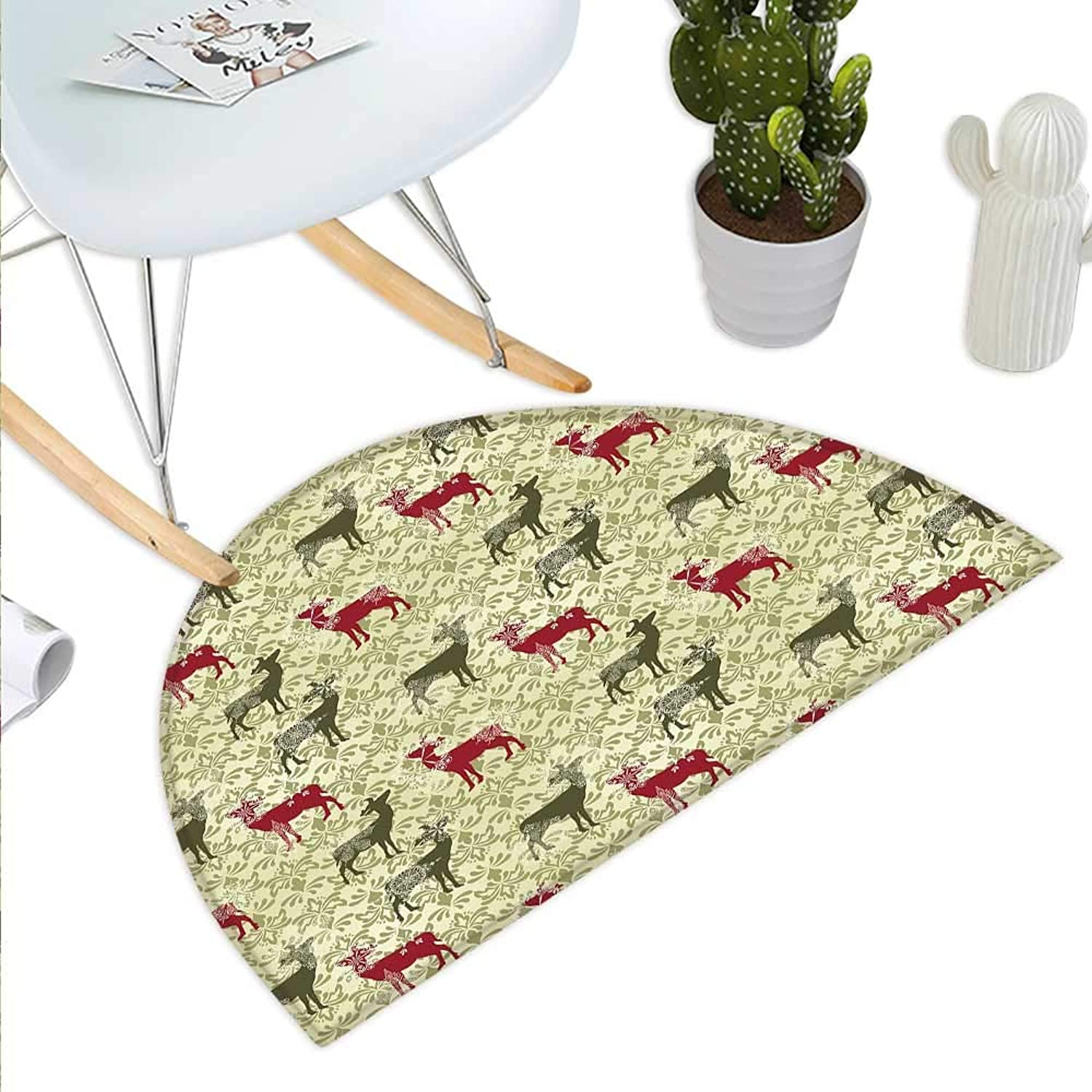 Deer Semicircle Doormat Damask Pattern Ethnic and Ornate Christmas Themed Animal Silhouettes Halfmoon doormats H 39.3  xD 59  Ruby Olive Green Pale Green