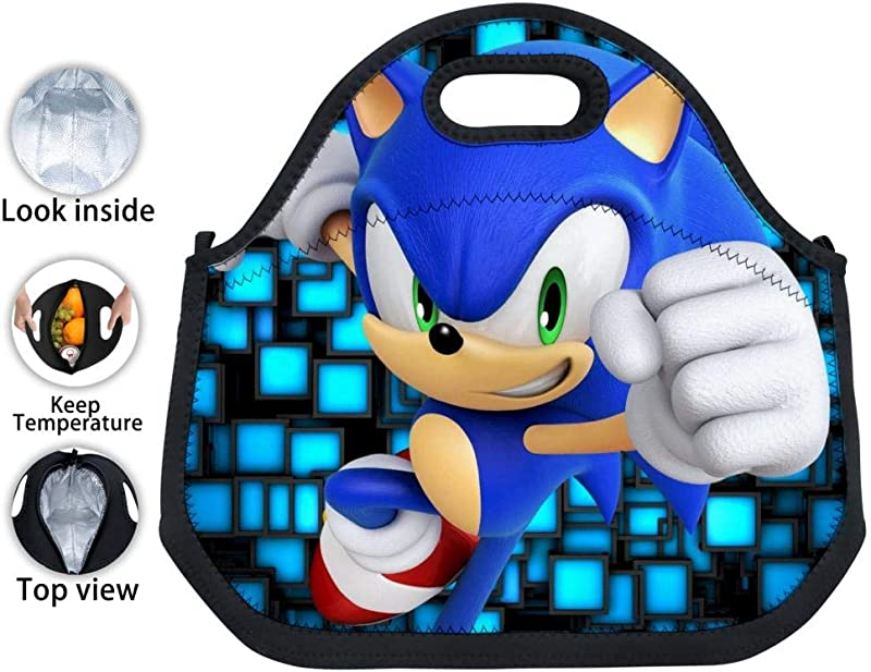 VSHFGC Neoprene Lunch Tote Son Ic The Hedg Ehog Reusable Insulated Lunch Bag Lunchbox Handbags Tote For Adults Kids Nurse Teacher Work Outdoor Travel Picnic