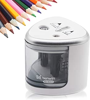 Sugelary Electric Pencil Sharpener, Electric Pencil Sharpener Heavy Duty Double Hole Sharpener Electric Battery-Operated Compact Kids Safety Ideal For NO.2 and Colored Pencils in Classroom, Office