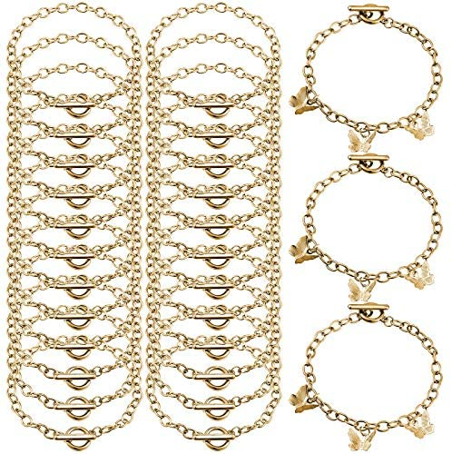 24 Pieces Bracelet Chains with OT Toggle Clasp Stainless Steel Bracelet Link Chains DIY Jewelry product image