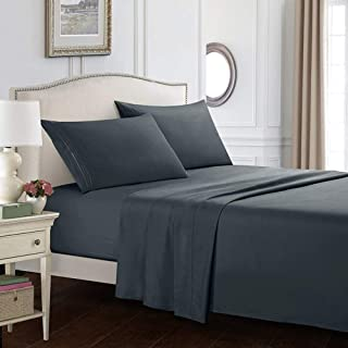AWAING Everyday Housse Set Ensemble de draps avec Drap-Housse à Poche Profonde Draps de lit Rides, rétrécissement, décolor...