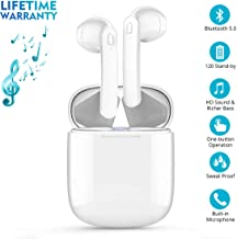 Bluetooth 5.0 Wireless Earbuds, Wireless Bluetooth Headphones with Deep Bass HiFi Stereo Sound, Built-in Mic Earphones with Portable Charging Case for iPhone, iPad and Android - White